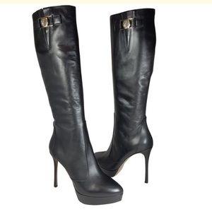 Versace black platform knee leather boot heel